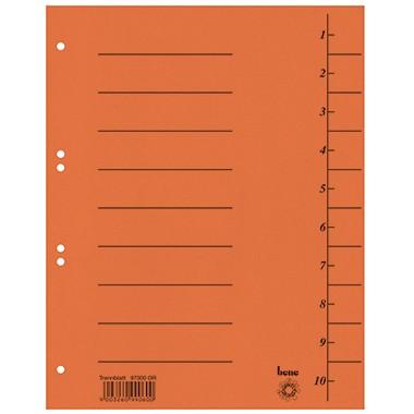Trennblätter A4 bene 250 g/m² Karton orange 10 Taben blanko , 100 St./ Pack