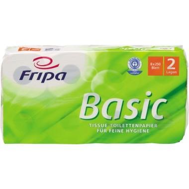 Toilettenpapier 2-lagig Fripa Basic geprägt weiß 250 Bl./Rl, 8 Rl./Pack