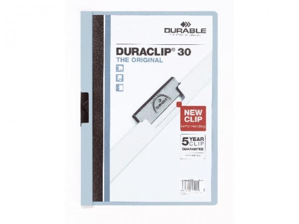 Klemmappen A4 Duraclip 30 für 30 Blatt blau Nr.06 Farbe der Vorderseite/Rückseite: transparent/blau