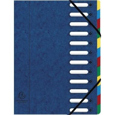 Ordnungsmappe 12 Fächer Exacompta blau Fächerblock mehrfarbig