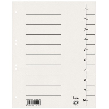 Trennblätter A4 bene 250 g/m² Karton weiß 10 Taben blanko , 100 St./ Pack