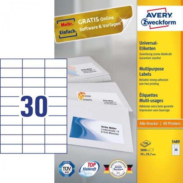 Etikett 70x29,7mm Universal weiß 100 Bl. / 3000 Etiketten