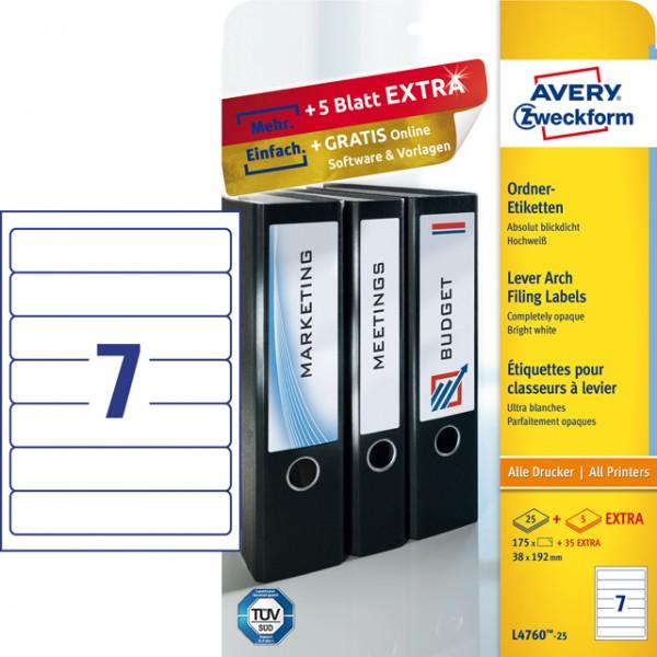 Etikett 192x38mm Ordner schmal/kurz weiß + 20 % 25 Bl. + 5 Bl./175 Etiketten + 35 Etiketten