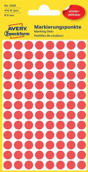 Etiketten 8mm rot wiederablösbar 416 St./Pack