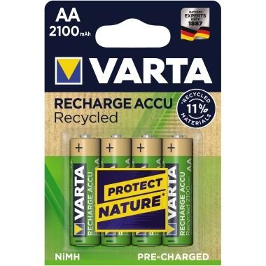 Batterie Akku Mignon AA Varta Recycled 4 St./Pack Power, 2100 mAh ,1,2V, 4 St./Pack