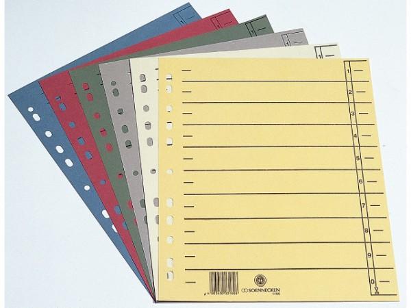 Trennblätter A4 230 g/m² Soennecken grau durchgefärbt ,mit Linienaufdruck ,100 St./Pack