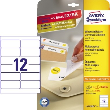 Etikett 99,1x42,3mm Universal ablösbar weiß 360 Etik./Pack