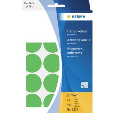 Etikett 32 mm Ø Markierungspunkt grün 480 Etik./Pack , stark haftend