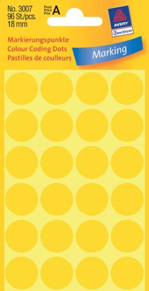 Etiketten 18mm gelb 96 St./Pack Markierungspunkt