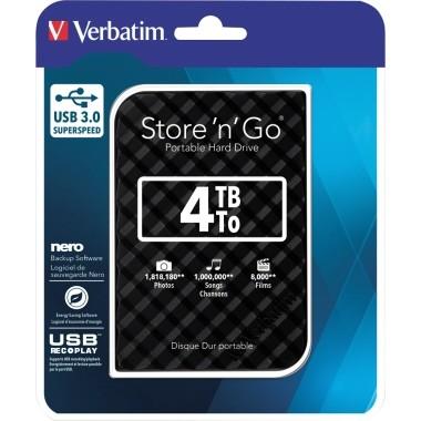 Festplatte extern Verbatim Store 'n' Go USB 3.0 Speicherkapazität: 4 Tbyte, schwarz