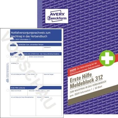Zweckform Meldeblock Erste Hilfe A5 50 Blatt mit Abheftlochung / vorperforiert