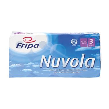 Toilettenpapier 3-lagig Fripa Nuvola hochweiß 250 Bl./Rl., 8 Rl./Pack