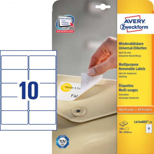 Etikett 96x50,8mm wiederablösbar weiß + 20% 25 Blatt + 5 Blatt / 250 + 50 Etiketten
