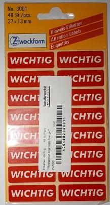 Etiketten Wichtig 48 St./Pack **Restposten,begrenzte Menge**