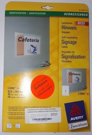 LASER/INK-JET ETIKETTEN 67,5X255MM LAMINIERTES HINWEIS-ETIKETT/20 STÜCK