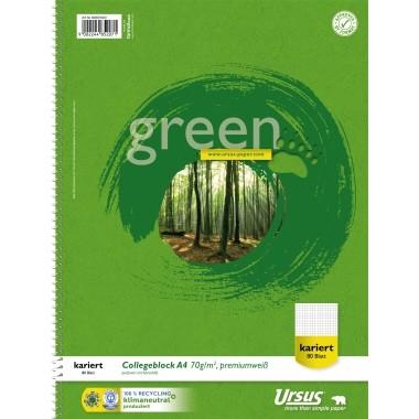 Collegeblock A4 Ursus Green 70 g/m² 80 Bl. kariert chlorfrei gebleicht, 100 % Recyclingpapier