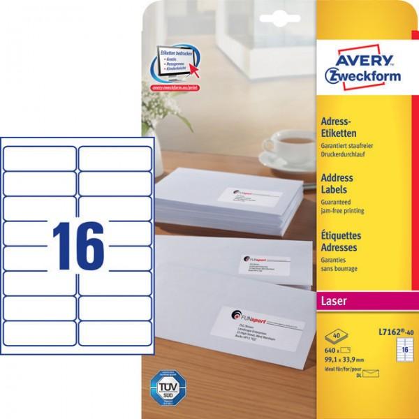 Etikett Adress 99,1x33,9mm Laser weiß QuickPEEL Abziehhilfe , 640 Etiketten/Pack