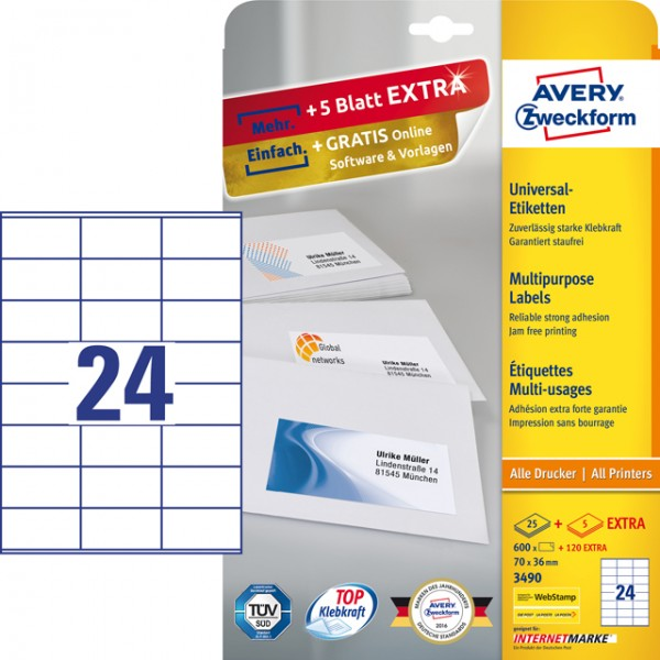 Etikett 70x36mm Universal weiß + 20% 25 Bl.+ 5 Bl. / 600 Etiketten + 120 Etiketten