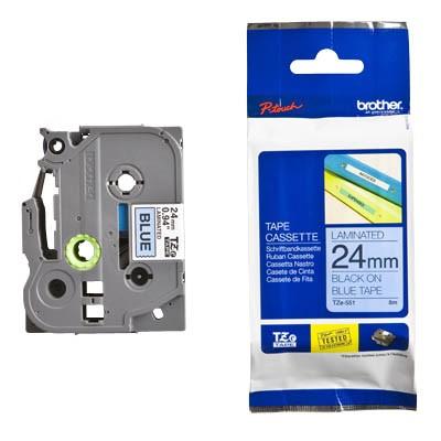 P-touch Kassette TZE-551 schw/blau 24mm 8m/f.350/540/540c/550