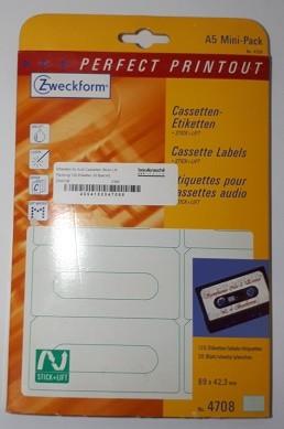 Ettiketten für Audi Cassetten Stick+Lift Packung 120 Etiketten 20 Blatt A5