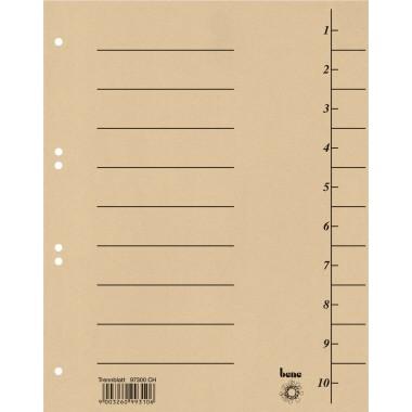 Trennblätter A4 bene 250 g/m² Karton chamois 10 Taben blanko , 100 St./ Pack