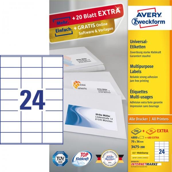 Etikett 70x36mm Universal weiß 220 Blatt / 5280 Etiketten/Pack