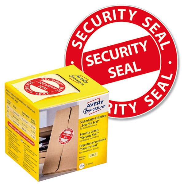 Sicherheitsetikett 38mm Ø Aufdruck: Security Seal 125 St./Pack , rot