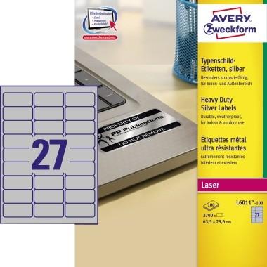 Etikett 63,5x29,6mm Typenschild silber 100 Blatt ,2700 Etik./Pack, Polyesterfolie