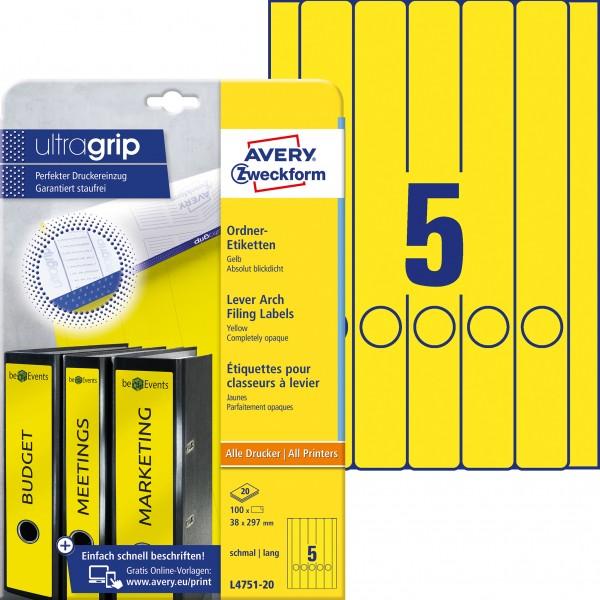 Etikett 38x297mm Ordner schmal/ lang gelb 20 Blatt / 100 Etiketten