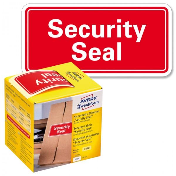 Sicherheitsetikett 78x38mm Aufdruck: Security Seal 100 St./Pack , rot