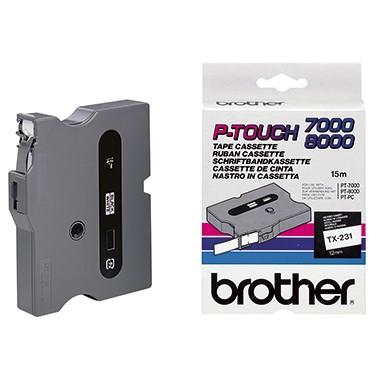 P-Touch Kassette TX-231 12mm schwarz/weiß laminiert